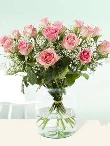 15 pink roses with gypsophila