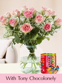 15 pink roses with gypsophila and Tony's Chocolonely Tiny 200g