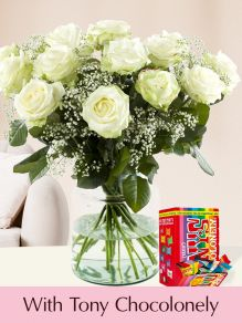 15 white roses with gypsophila and Tony's Chocolonely Tiny 200g