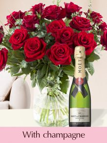 Red roses EverRed with Moët & Chandon champagne 0,375l