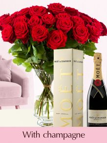 30 red roses with Moët & Chandon champagne
