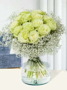 Camouflage bouquet with gypsophila outskirts