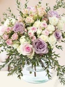 Pastel roses with eucalyptus