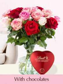 Pink-red rose bouquet with Lindt heart
