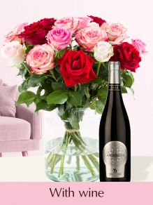 Pink-red roses inlcuding red wine