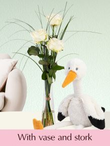 Three white roses with vase and stork