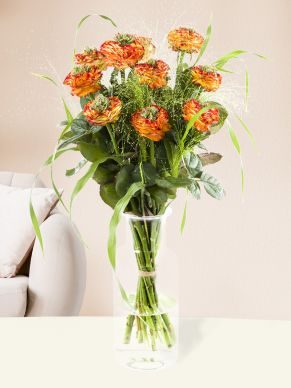 10 orange Grassheart roses