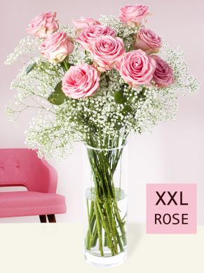 10 pink roses with gypsophila (XXL)