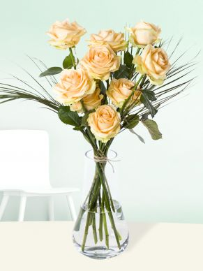 10 salmon-coloured roses with phoenix - Avalanche Peach