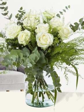 10 white roses with eucalyptus