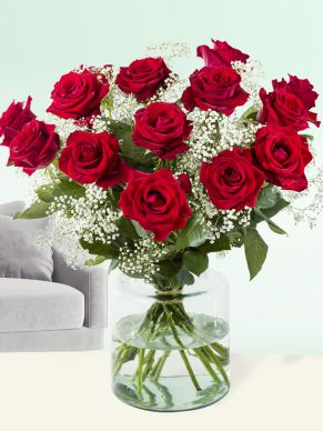 15 red roses with gypsophila