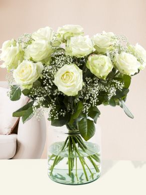 15 white roses with gypsophila