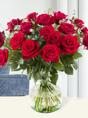 20 red roses with eucalyptus – EverRed