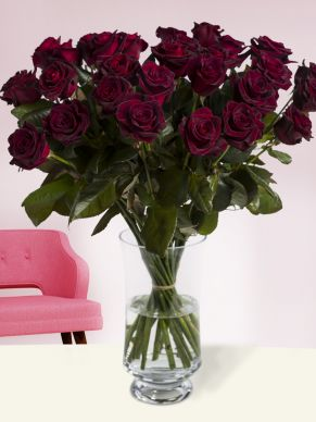 30 deep red roses - Black Baccara