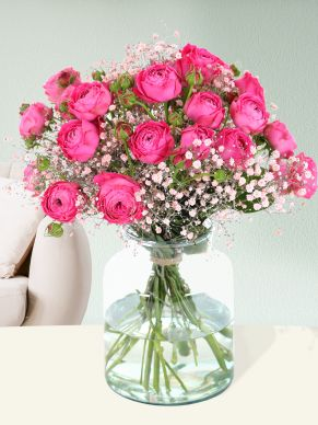Bouquet pink spray roses