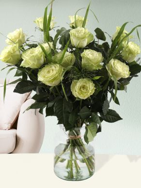 Bouquet of green roses with panicum and eucalyptus