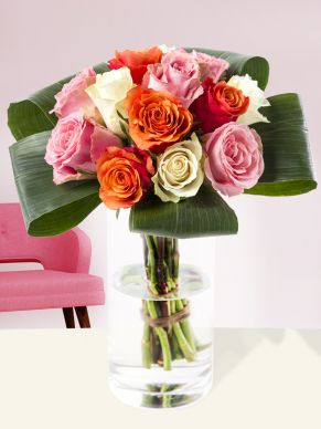 Orange-white-pink biedermeier bouquet