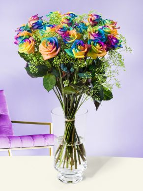Rainbow roses with green gypsophila