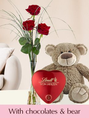 Three red roses with vase, Lindt heart and teddybear