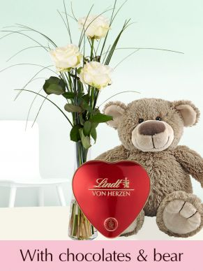 Three white roses with vase, Lindt heart and teddybear