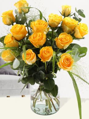 Yellow rose bouquet with panicum and eucalyptus